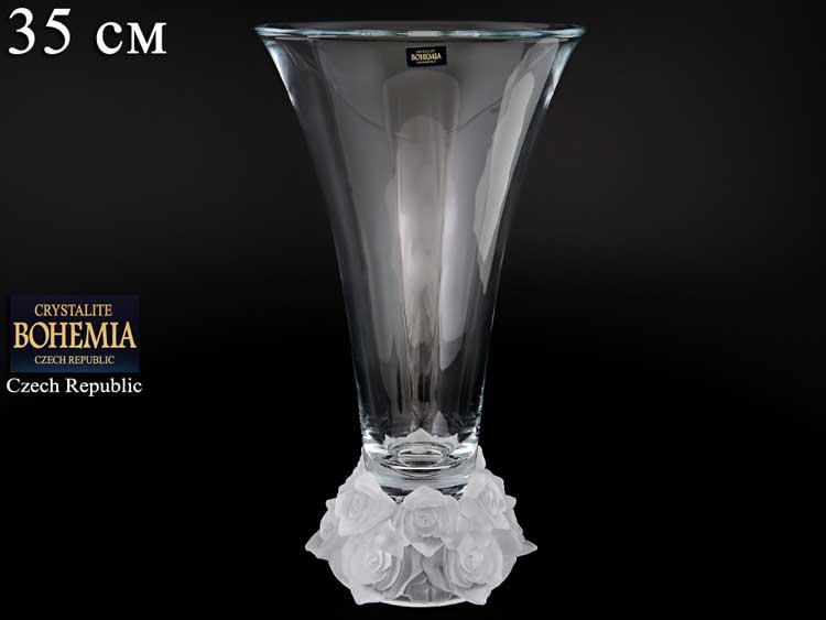 Фрост Розы белые Ваза для цветов Crystalite Bohemia 35 cм