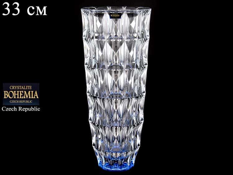 DIAMOND синяя Ваза для цветов Crystalite Bohemia 33 см