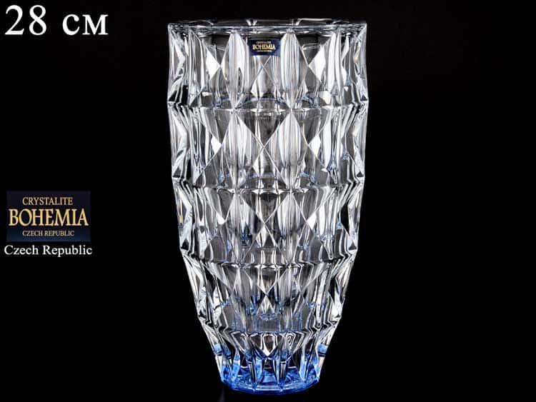DIAMOND синяя Ваза для цветов 28 см Crystalite Bohemia