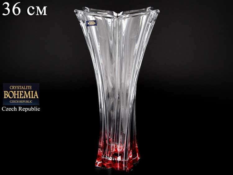 FLORALE красная Ваза для цветов Crystalite Bohemia 36 см