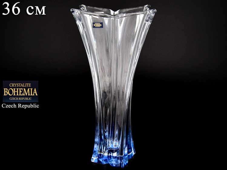 FLORALE синяя Ваза для цветов Crystalite Bohemia 36 см