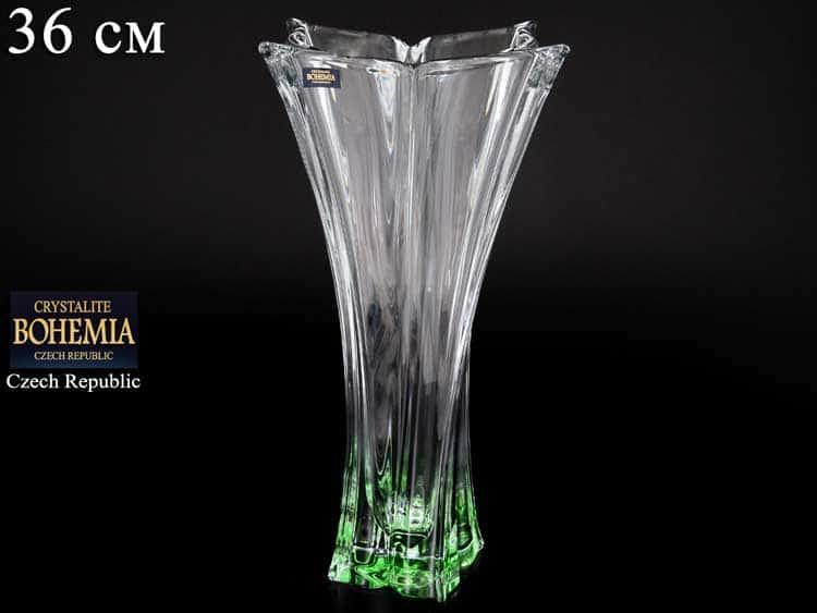 FLORALE зеленая Ваза для цветов Crystalite Bohemia 36 см