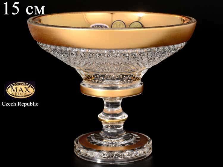 Фелиция Конфетница Max Crystal Золото 15 см на ножке