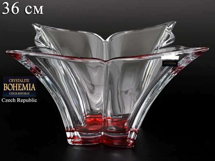 FLORALE красная Ваза для фруктов Crystalite Bohemia 36 см