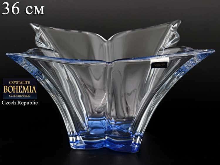 FLORALE синяя Ваза для фруктов Crystalite Bohemia 36 см