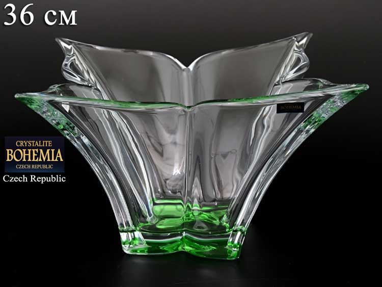 FLORALE зеленая Ваза для фруктов Crystalite Bohemia 36 см