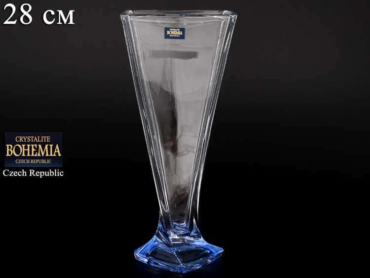 QUADRO синяя Ваза для цветов 28 см  Crystalite Bohemia