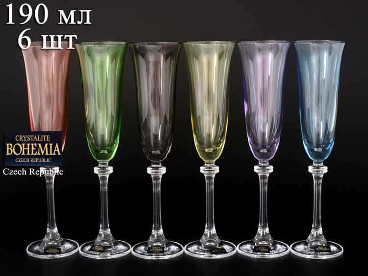 Александра Арлекино Набор фужеров для шампанского Crystalite 190 мл (6 шт)