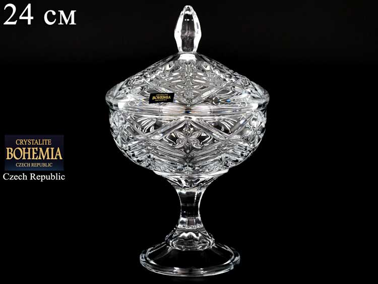 TAURUS Конфетница на ножке с крышкой  Crystalite Bohemia 24 см
