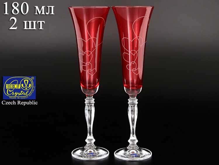Виктория Свадебные красные сердца Набор фужеров для шампанского Bohemia crystal 180 мл (2 шт)
