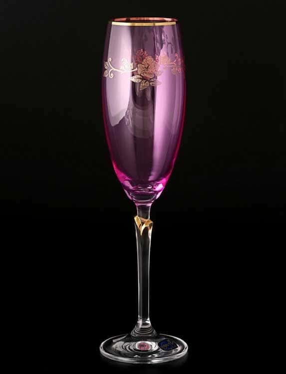 Lilly 20754 розовые Набор фужеров для шампанского 220 мл (6 шт) Кристалекс