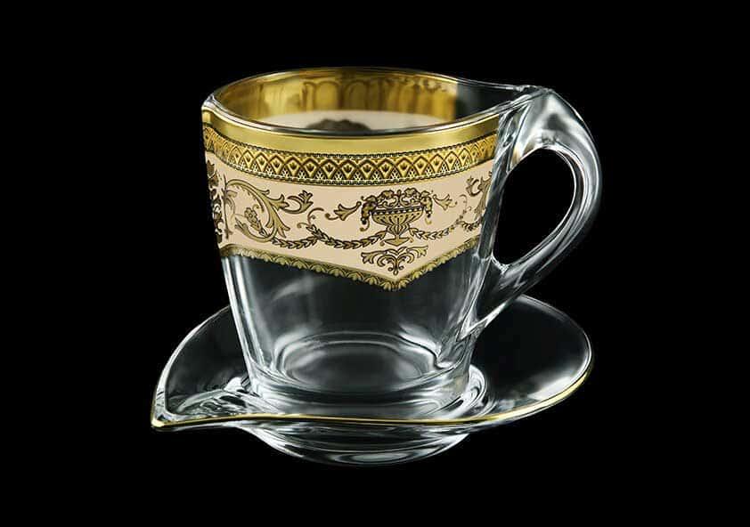 Версаче Глава Лаура крем Набор чашка с блюдцем 2 пр Astra Gold
