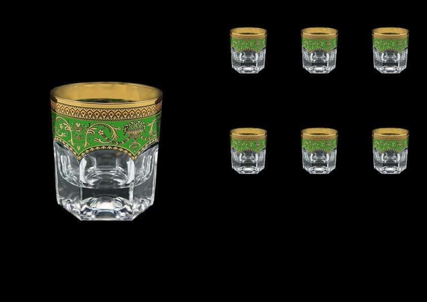 Версаче Глава Лаура зеленая Набор стаканов для виски 6 шт 280 мл Astra Gold