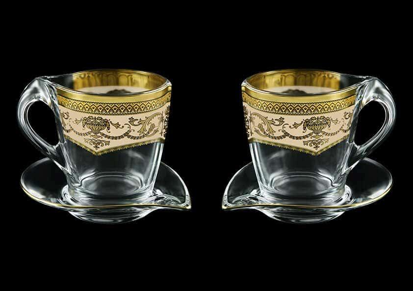 Версаче Глава Лаура крем Набор чайных пар 2 чашки + 2 блюдца 4 пр Astra Gold