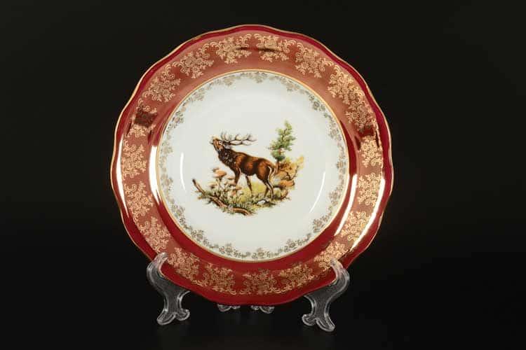 Царская Красная Охота Набор глубоких тарелок 23 см Royal Czech Porcelain (6 шт)