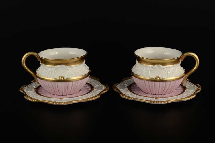 CATTIN Чайные пары розовые из фарфора Италия