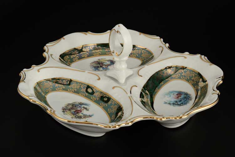 Зеленое Барокко AL Менажница Royal Porcelain 23 см 3 я