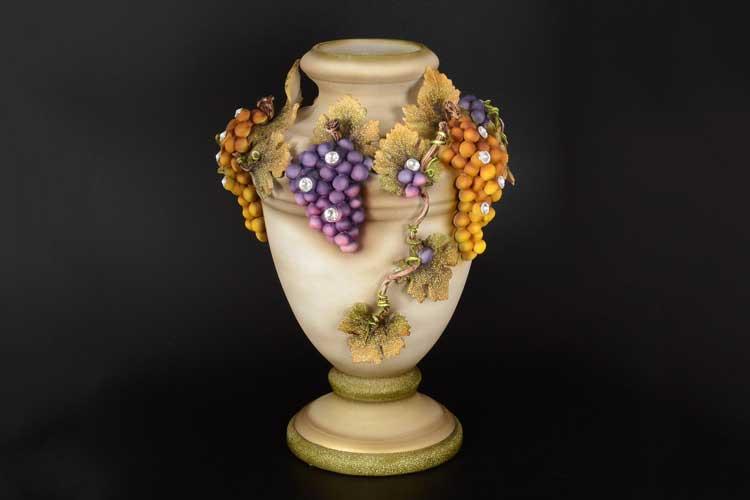 Виноград натуральный Ваза для цветов Stella с кристаллами Сваровски d-30, h-42 см