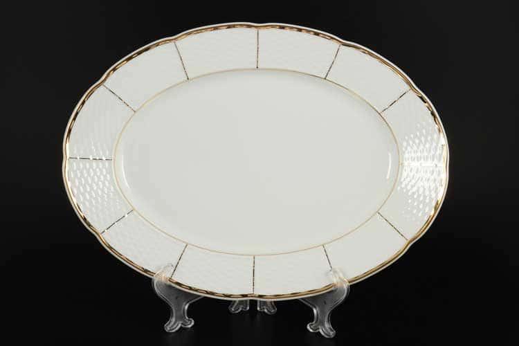 Менуэт Обводка золото Блюдо овальное Thun 37 см
