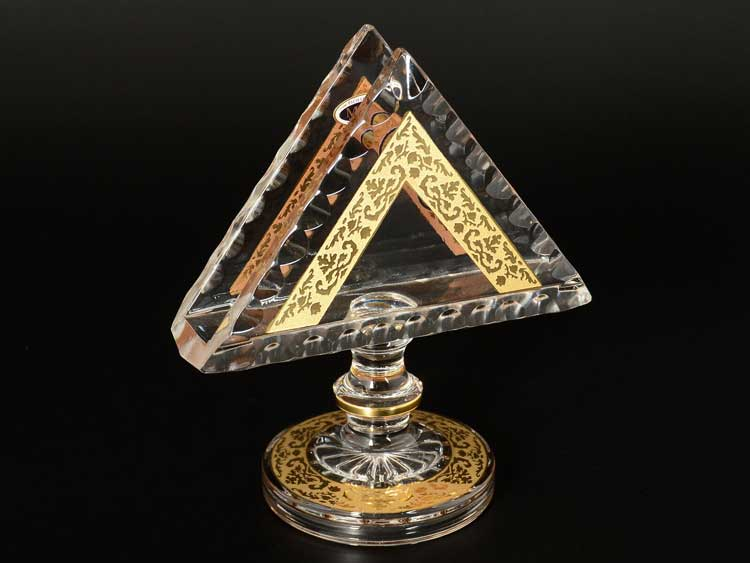 Star Crystal Золото Салфетник 14 см на ножке Bohemia Max