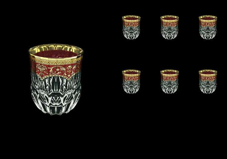 Версаче Глава Лаура красная Набор стаканов для виски 6 шт 350 мл Astra Gold