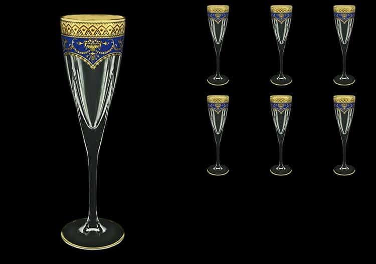 Версаче Глава Лаура синяя Набор фужеров для шампанского 6 шт 170 мл Astra Gold