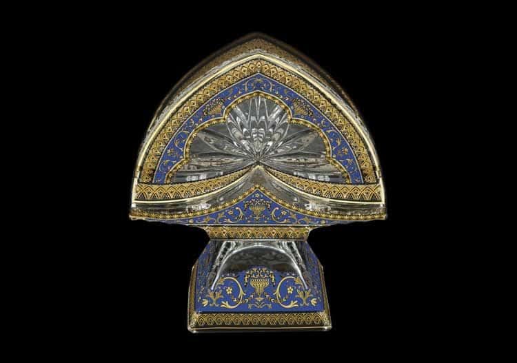 Версаче Глава Лаура синяя Салфетница на ножке Astra Gold