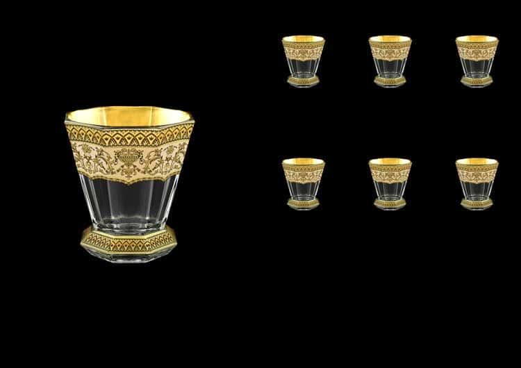 Версаче Глава Лаура кремовая Набор стаканов для виски 6 шт 310 мл Astra Gold