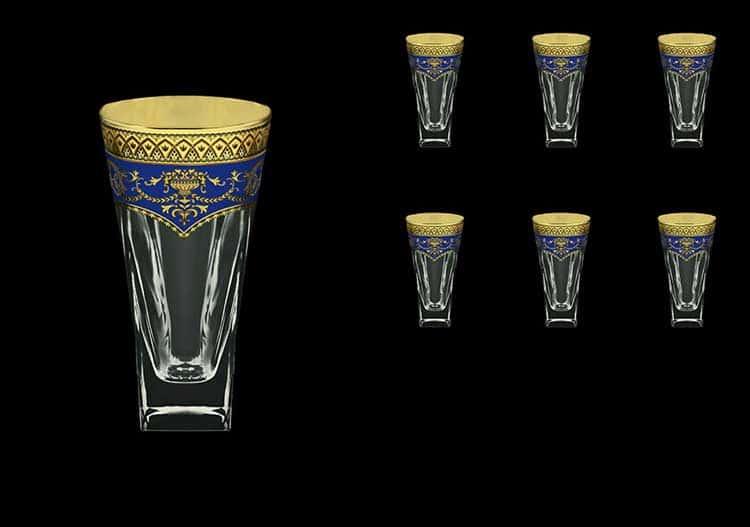 Версаче Глава Лаура синяя Набор стаканов для воды 6 шт 384 мл Astra Gold