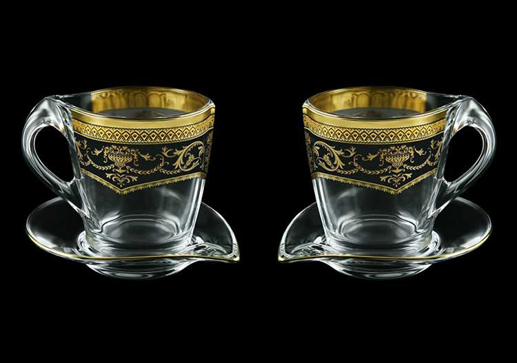 Версаче Глава Лаура черная Набор чайных пар 2 чашки + 2 блюдца 4 пр Astra Gold