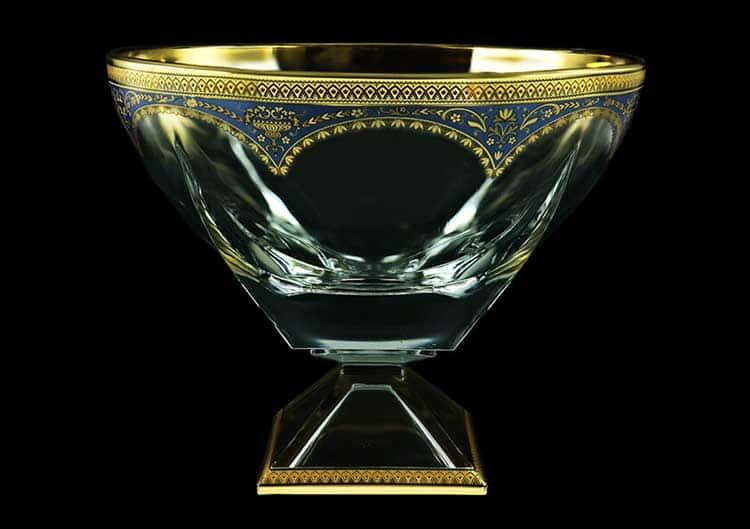 Версаче Глава Лаура синяя Фруктовница на ножке 19,5х24,5 см Astra Gold