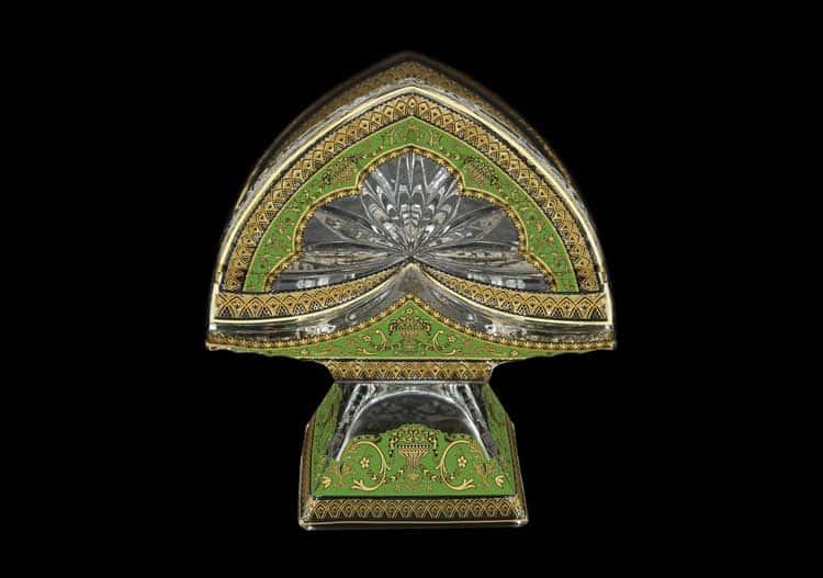 Версаче Глава Лаура зеленая Салфетница на ножке 11 см Astra Gold