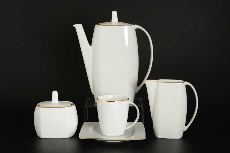 Отводка золото EYE Кофейный сервиз Thun на 6 персон 17 предметов