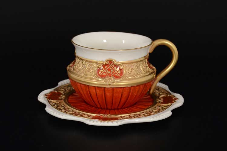Cattin красный Набор чайных пар (2 пары) из фарфора