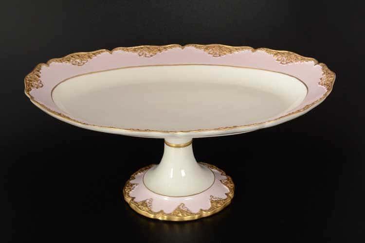 CATTIN розовый Блюдо овальное на ножке 40 см из фарфора