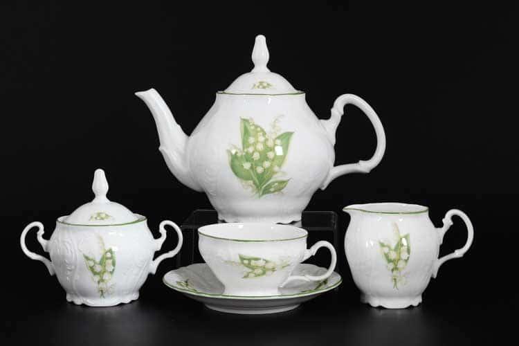 Бернадотт Ландыши Чайный сервиз на 6 персон 17 предметов