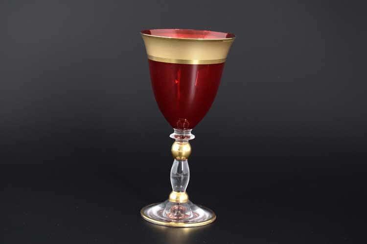 Матовая полоса Грация красная набор бокалов для вина Balvinglass 220 мл (6 шт)