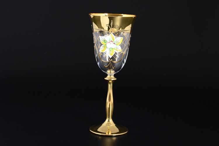 Лепка прозрачная U-R золотая ножка Набор бокалов для вина 250 мл (6 шт)