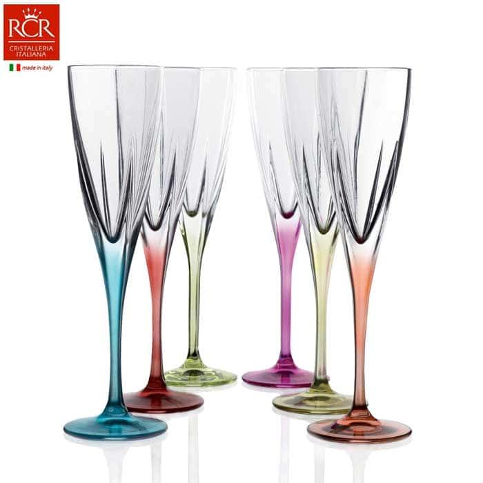 FUSION RCR TRENDS Набор фужеров для шампанского цветные