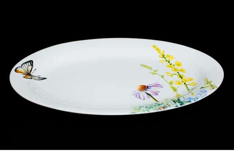 Дейзи Бабочки Овальное блюдо 30 см костяной фарфор Rulanda