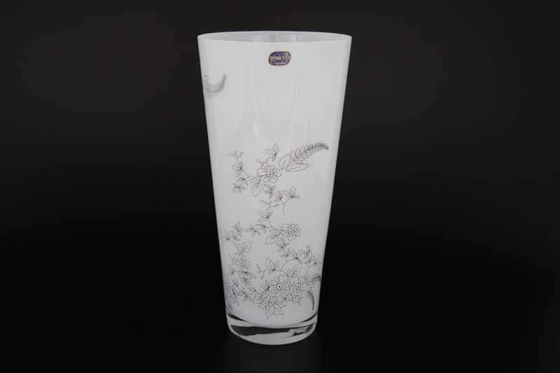 Белая Ваза для цветов Bohemia Crystal 29 см