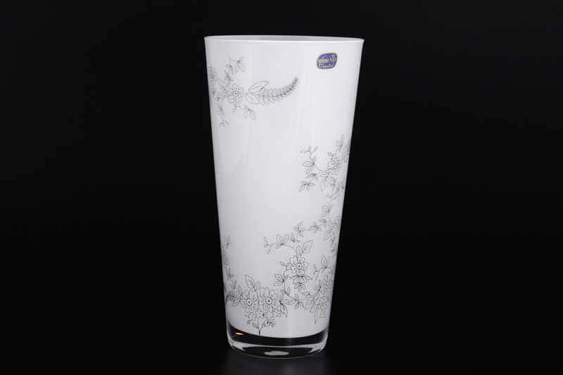 Белая Ваза для цветов Bohemia Crystal 25 см
