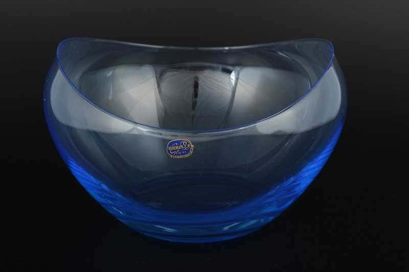 Gondola Кристалекс Фруктовница голубая Bohemia Crystal 15х23 см