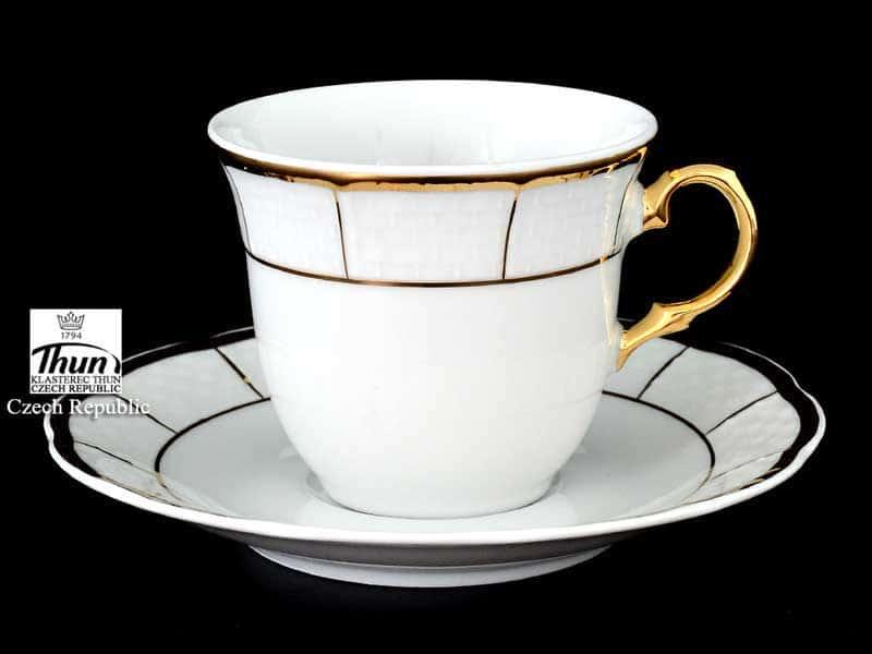 Менуэт Отводка золото Набор кофейных пар Thun 135 мл (6 пар)