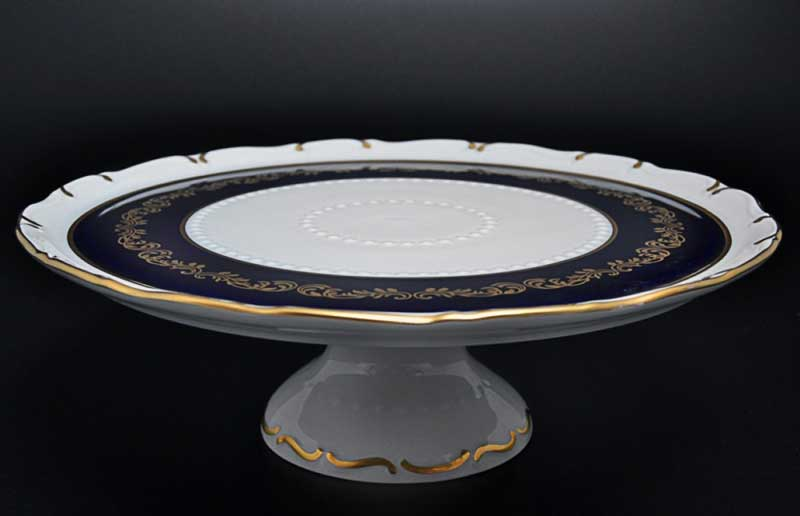 Анжелика Кобальт Золотые вензеля Тарелка для торта на ножке MZ 30 см