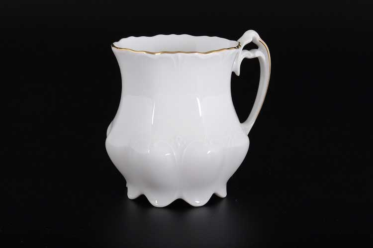 Белый узор Корона Кружка для чая QC фарфоровая