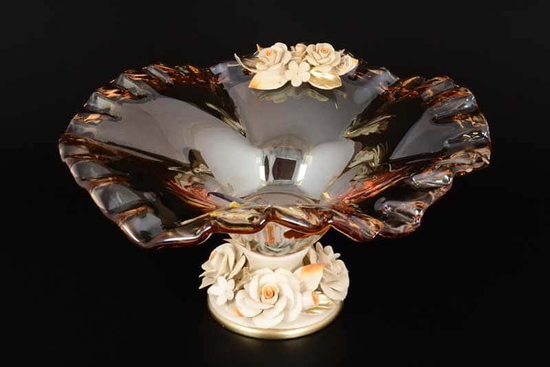Фруктовница White Cristal на ножке с цветами