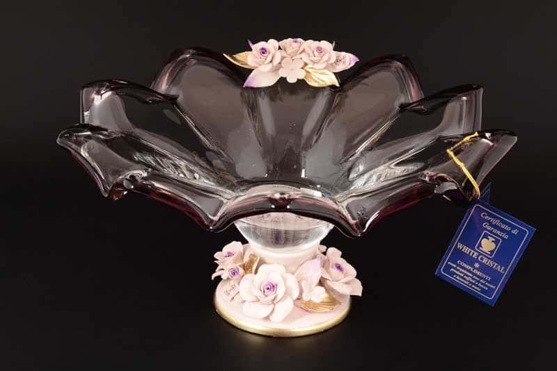 Фруктовница White Cristal на ножке фиолетовая