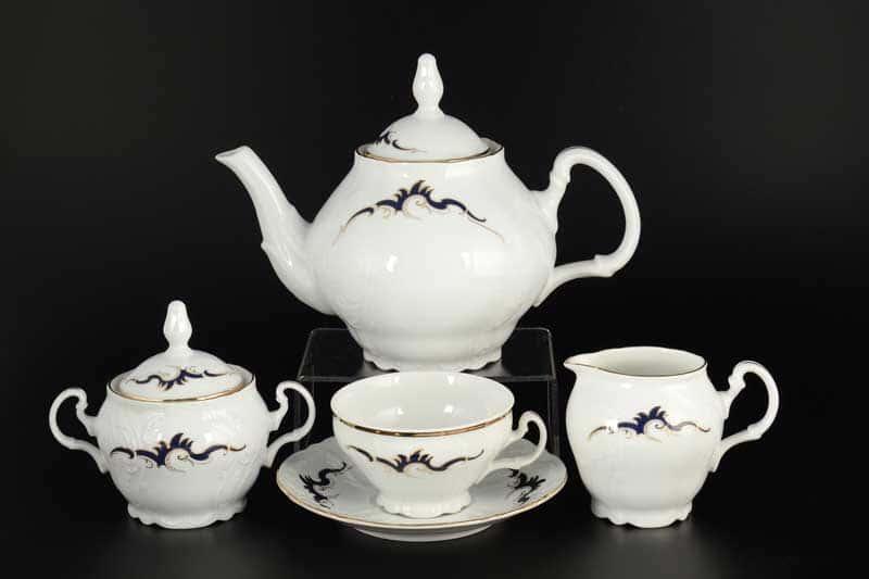 Бернадотт Синие вензеля Чайный сервиз на 6 персон 17 предметов