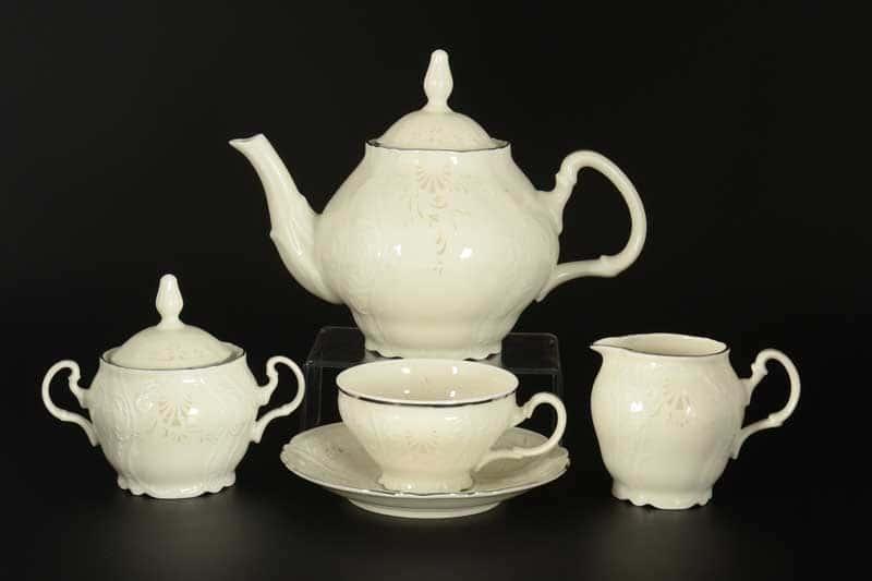 Бернадотт Платиновый узор BE-IVORY 3632021 Чайный сервиз на 6 персон 17 предметов